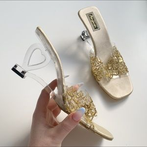 Shoes - lucite heart heel mules with gold sequins